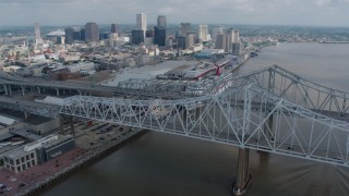 PVED01_133 - 4K stock footage aerial video wide orbit of the Crescent City Connection and Downtown New Orleans, Louisiana