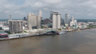 PVED01_134 - 4K stock footage aerial video riverfront skyscrapers in Downtown New Orleans, Louisiana