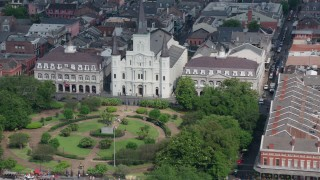 PVED01_136 - 4K stock footage aerial video fly over St. Louis Cathedral and Jackson Square in the French Quarter, New Orleans, Louisiana