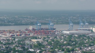 PVED01_146 - 4K stock footage aerial video orbit cranes and containers at the Port of New Orleans in Louisiana