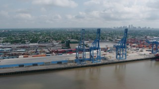 PVED01_149 - 4K stock footage aerial video orbit cargo cranes at the Port of New Orleans in Louisiana