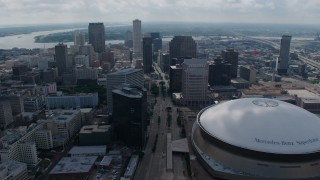 PVED01_158 - 4K stock footage aerial video orbit Downtown New Orleans skyscrapers and the Superdome, Louisiana