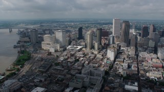 PVED01_160 - 4K stock footage aerial video wide orbit of Downtown New Orleans, and reveal St. Louis Cathedral, Louisiana