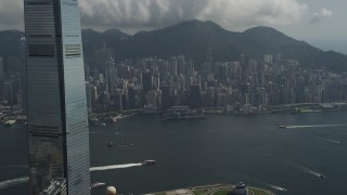 SS01_0005 - 5K stock footage aerial video of view of Hong Kong Island high-rises from International Commerce Centre in Kowloon, China