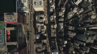 SS01_0018 - 5K stock footage aerial video of bird's eye view of narrow city streets through Hong Kong Island, China