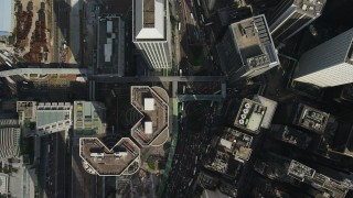 SS01_0020 - 5K stock footage aerial video bird's eye view of city streets and high-rises on Hong Kong Island, China
