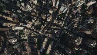 SS01_0021 - 5K stock footage aerial video a bird's eye view of narrow streets and dense city blocks on Hong Kong Island, China