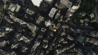SS01_0022 - 5K stock footage aerial video a bird's eye view of narrow streets and tall buildings on Hong Kong Island, China