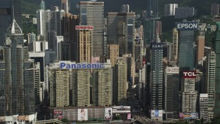 SS01_0025 - 5K stock footage aerial video flyby skyscrapers on Hong Kong Island, China