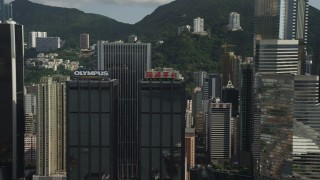 SS01_0026 - 5K stock footage aerial video flyby tall high-rises on Hong Kong Island, China
