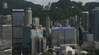 SS01_0027 - 5K stock footage aerial video of flying by skyscrapers on Hong Kong Island, China