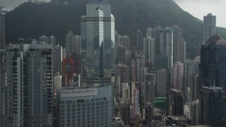 SS01_0031 - 5K stock footage aerial video of modern skyscrapers on Hong Kong Island in China