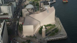 SS01_0049 - 5K stock footage aerial video approach Clock Tower and Hong Kong Cultural Centre in Kowloon, Hong Kong, China