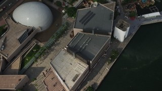 SS01_0051 - 5K stock footage video of bird's eye of waterfront museums and park in Kowloon, Hong Kong, China