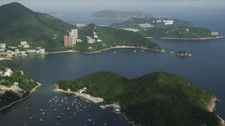 SS01_0052 - 5K stock footage aerial video approach Middle Island and Repulse Bay in Hong Kong, China