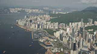 SS01_0086 - 5K stock footage aerial video of waterfront skyscrapers on Hong Kong Island in China