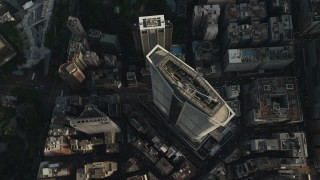 SS01_0090 - 5K stock footage aerial video bird's eye view of high-rise and city streets in Kowloon, Hong Kong, China