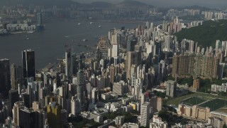 SS01_0095 - 5K stock footage aerial video of skyscrapers on Hong Kong Island seen from the mountains, China