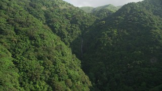 SS01_0107 - 5K stock footage video approach waterfall in forested mountains on Hong Kong Island, China