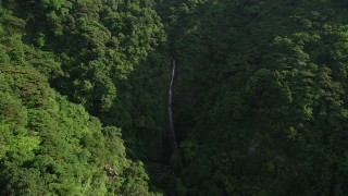 SS01_0110 - 5K stock footage aerial video of reverse view of waterfall and forest in the mountains of Hong Kong Island, China