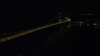 SS01_0243 - 5K stock footage aerial video of flying by the Tsing Ma Bridge in Hong Kong at night, China