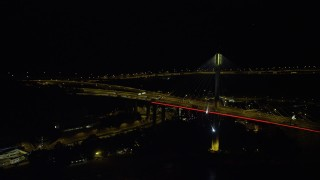 SS01_0247 - 5K stock footage aerial video of light traffic traveling on the Ting Kau Bridge at night in Hong Kong, China