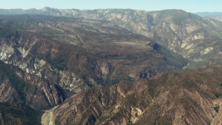 TS01_018 - 1080 stock footage aerial video of tall mountains in Los Padres National Forest, California