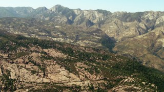TS01_023 - 1080 stock footage aerial video pan across mountain ridges in Los Padres National Forest, California