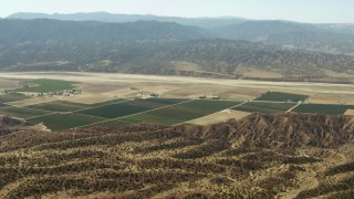 TS01_035 - 1080 stock footage aerial video of farms in Cuyama Valley, California