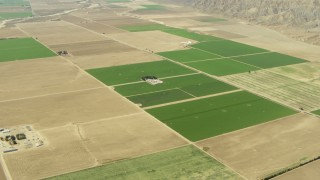 TS01_039 - 1080 stock footage aerial video of farmland and crop fields in Cuyama Valley, California