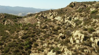 TS01_054 - 1080 stock footage aerial video of of flying over the tops of mountains, La Panza Range, California