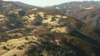 TS01_123 - 1080 stock footage aerial video of mountains with trees in Morgan Hill, California