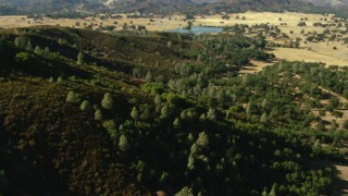 TS01_127 - 1080 stock footage aerial video of flyby mountain and over trees toward lake in San Jose, California