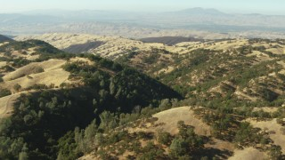 TS01_134 - 1080 stock footage aerial video of flying over hills in Ohlone Regional Wilderness, California, Mount Diablo in distance