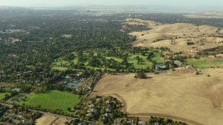 TS01_139 - 1080 stock footage aerial video of neighborhoods and golf course in Walnut Creek, California
