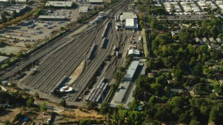 TS01_142 - 1080 stock footage aerial video approach the Concord BART depot in California