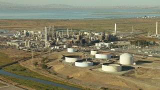 TS01_147 - 1080 stock footage aerial video of passing by the Tesoro refinery in Pacheco, California