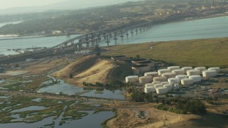 TS01_148 - 1080 stock footage aerial video of refinery near the Benicia-Martinez Bridge in Benicia, California