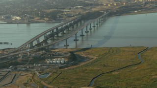 TS01_150 - 1080 stock footage aerial video of approaching the Benicia-Martinez Bridge, California