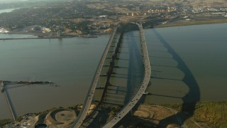 TS01_151 - 1080 stock footage aerial video of approaching the Benicia-Martinez Bridge, California