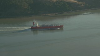 TS01_155 - 1080 stock footage aerial video of an oil Tanker sailing the Carquinez Strait, California