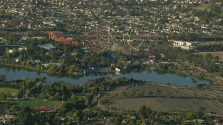 TS01_158 - 1080 stock footage aerial video zoom to a closer view of Six Flags Discovery Kingdom, Vallejo, California