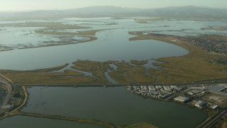 TS01_159 - 1080 stock footage aerial video of approaching Napa Sonoma Marsh in Vallejo, California