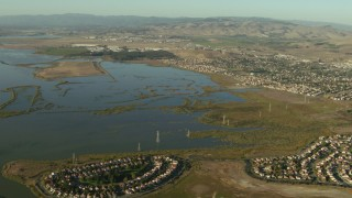 TS01_162 - 1080 stock footage aerial video of waterfront homes by the Napa Sonoma Marsh in Vallejo, California