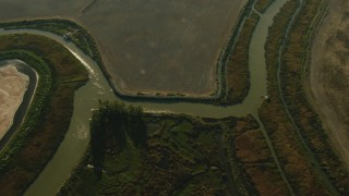 TS01_167 - 1080 stock footage aerial video of a bird's eye of rivers and farm fields in Sonoma, California