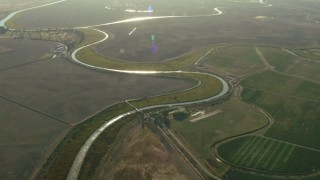 TS01_168 - 1080 stock footage aerial video of farms and rivers in Sonoma, California