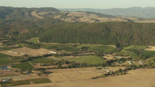 TS01_172 - 1080 stock footage aerial video flyby farms and hills in Sonoma, California
