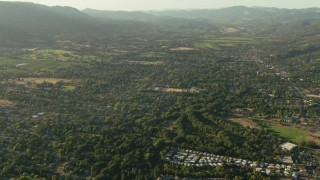 TS01_177 - 1080 stock footage aerial video of flying over rural neighborhoods in Sonoma, California