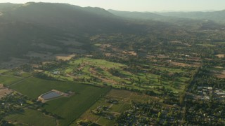 TS01_178 - 1080 stock footage aerial video of farm fields, neighborhoods and golf course in Sonoma, California