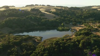 TS01_184 - 1080 stock footage aerial video of flying over trees and a small lake in the Sonoma Mountains, California